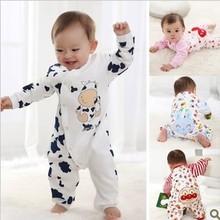 Free shipping Children pajamas baby rompers newborn baby rompers long sleeve underwear cotton pajamas boys girls autumn rompers(China (Mainland))