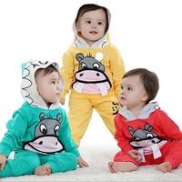 New arrival fashion 2013 autumn summer  baby boy hooded 2 pcs clothing set long sleeves,baby boy cartoon pringting set