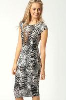 women dress casual Look Slim Zebra Print Midi Dress LC6198     2013 new high street  dresses new fashion knee length