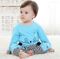 New arrival fashion 2013 autumn summer  baby girl cute kitty pringting striped O-neck long sleeved clothing set 2 pcs