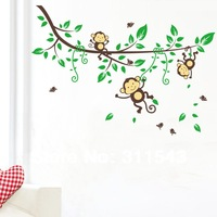 large kids room stickers ,cartoon Monkeys and trees wall paper decals,vinyl children family bedroom decor k007 Free shipping