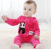Hot sale 2014 new fashion  baby boy/girl cute panda hooded velvet clothing set 2 pcs,baby cute autumn-winter outwear
