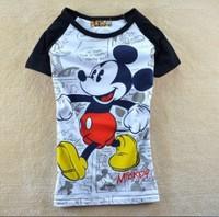 new2014 Free Shipping  women's cartoon MICKEY cartoons 100% cotton short-sleeve round neck t shirt women