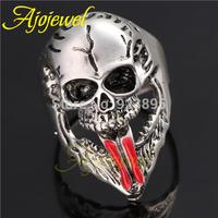 Size 9-11 Gothic Jewelry Skull Fashion Red Enamel 18K White Gold Plated Skeleton Ring Men