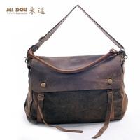 7color Promotion 2014 man genuine leather handbag top crazy horse leather vintage messenger bag big women canvas shoulder bags