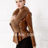 2013 genuine leather clothing fox fur collar women's design slim short leather coat leather jacket
