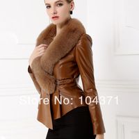 2013 genuine leather clothing fox fur collar women's design slim short leather coat leather jacket