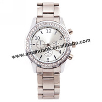 330pcs/lot,fashion promotion woman crystal  metel watch NO LOGO stainless steel watch silver -gold alloy bracelet  watch.