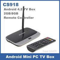 Quad Core RK3188 CS918 Android 4.2 TV Box 2GB/8GB AV Port RJ-45 USB WiFi XBMC Smart TV MK888 with Remote Controller