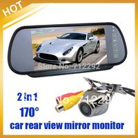 """Free Shipping HongKong Post , Safety Car Rear View Kit HD 170 degree Night vision Camera+7"""" TFT LCD Mirror Moniter"""