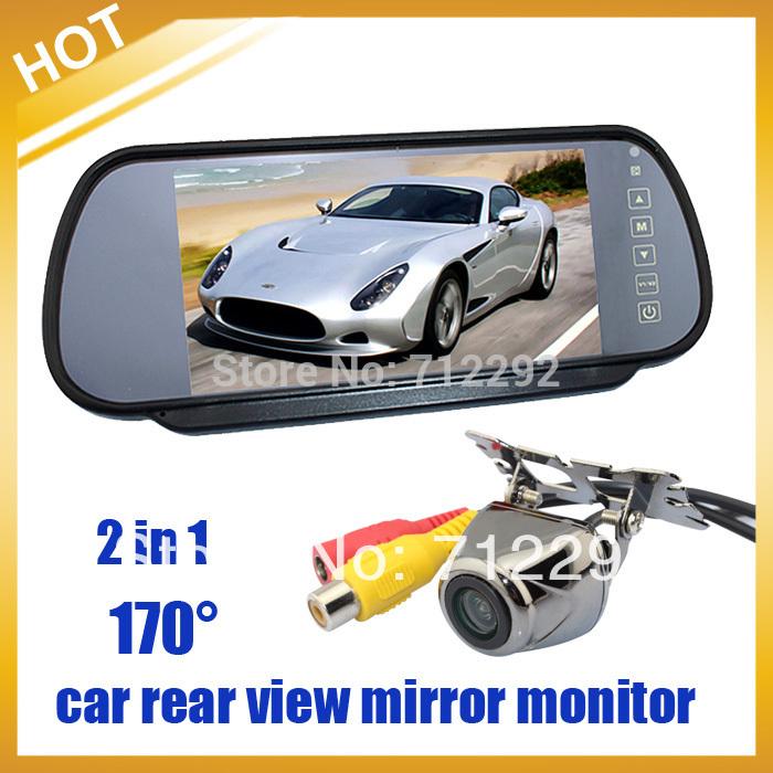 """Free Shipping HongKong Post , Safety Car Rear View Kit HD 170 degree Night vision Camera+7"""" TFT LCD Mirror Moniter(China (Mainland))"""