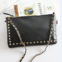 2013 New! Mango MNG women messenger bag designer brand rivets shoulder bag PU leather handbags zipper black Fashion for Women