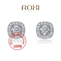 ROXI Sterling silver luxury Fine Jewelry 925 Silver AAA CZ Modelling Beauty Simple Stud Earrings Wedding Christmas Gifts
