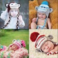 Cartoon Designs Cotton Handmade Children baby Crochet Hats Monkey and Owl style Hats Animal Prints Hat 27 Design Free Shipping