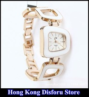 Free Shipping Big Hollow Bracelet Watches Fashion White Casual Rose Gold Plated Wholesale*Free Box