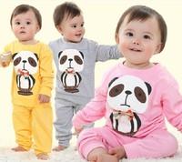Hot sale autumn summer 2014 new fashion baby girl cute panda bow-knot  clothing set 2 pcs,bebe cute outwear O neck