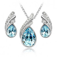Free Shipping Fashion 18K Gold Plated Austrian Bridal Accessories Crystal Jewelry Sets Necklace/Earrings