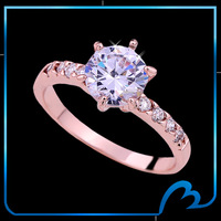 New 2014 crystal cubic zircon luxury rings roes gold plated round brilliant cut charm CZ engagement ring for Women(Min order $8)