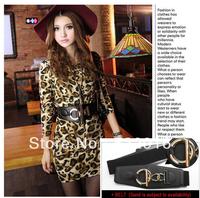 Fashion Women's Slim Package Hip Leopard Print Long-Sleeved Dress OL Charming Bodycon Dress With Belt  YM28200