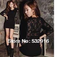 2014 New  Women's Sexy Lace Stitching Stretch Club Party Dress Slim O-Neck Long-Sleeved Dress YM26200