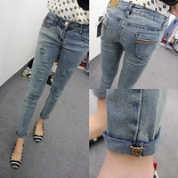 women's slim hip water wash distressed roll-up jeans ladies women fashion vintage jeans pants trousers 0983