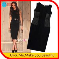 Women's Cotton Mid-Calf Peplum Sashes OL Dress Back of Zipper Sleeveless Novelty Black Celebrity Party Victoria Beckham Dress
