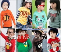 new 2013 one piece autumn and winter children's t shirt  girls boys  baby child long sleeve T-shirt basic shirt Free shipping