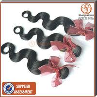 Brazillian Virgin Hair Body Wave 4pcs/lot 50g/piece Natural Black Cheap Shangkai Unprocessed Remy Hair Weft Free Shipping