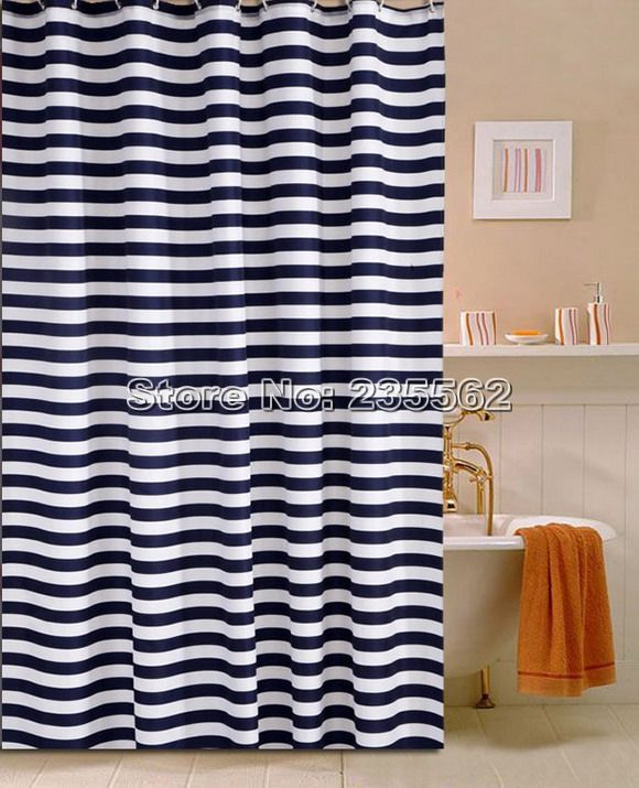 Cortinas De Baño Easy:Navy Blue and White Shower Curtain