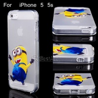 Despicable me minions Clear TPU Case For iPhone5 5S Dancing Jumping Cartoon with Anti Dust Stopper Back cover Phone Cases