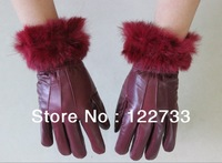 Free shipping! New winter lady leather rabbit fur gloves