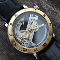 brand IK colouring hollow Creative Gold Luxury Wrist mechanical watch, fashion waterproof dress leather strap men sports watch