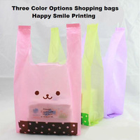 30cmx14cmx54cm shopping vest bags plastic bags  promotional packing three options random deliver one color 100pcs/lot