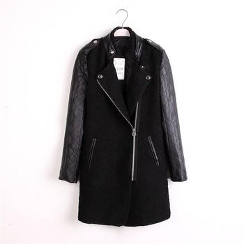 2014 Branded Autumn Winter Long Women's Stand Collar Leather Sleeve Asymmetrical Zipper Woolen Jacket Coat  ZA014