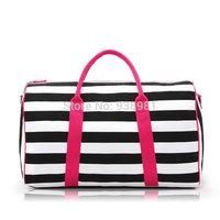 Black and white stripe cylinder travel bag vlsivery large sports gym bag duffel bags,Sexy women messenger bag, fashion gym totes