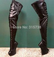 Black matt over the knee heel-less boots,20CM high heel sexy boots,size 36-46