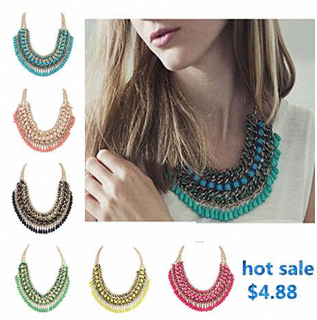 Fashion jewelry necklaces for women 2014 Bohemian Handmade braid Beads Tassel Bib Beaded Water Drop Pendant