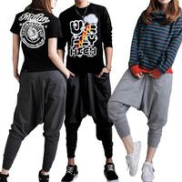 Free shipping 2013  Fashion Womens Mens Unisex Casual Baggy Hip-hop Harem Trousers Dance Pants Couple Sweatpants High Quality