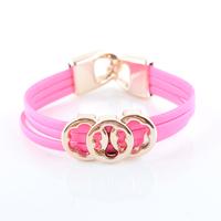 13 Color Choose Fashion Europe Beautiful Flower Leather Bracelets Jewelry(12pcs/lot) Wholesale LR0005
