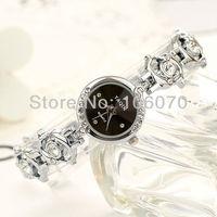 Relojes Freeshipping Luxury Brand Watch 2013 New Fashion Quartz Wristband Silver Black/White Dial Rhinestone Dress Watches Women