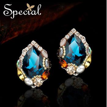 Special Luxury Blue Zircon Stud Earrings Handmade Austria Crystal Big Earrings For Women Birthday Gift Free Shipping ED141124