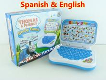 Hot sale Spanish & English language children learning machine computer for kids boy best gift free shipping(China (Mainland))