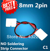 Free shipping+10pcs/lot . 8mm 2pin for 3528 single color strip connecting wire, double connectors for strip jointing.