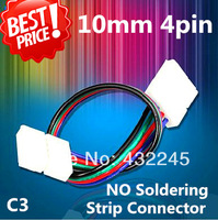 Free shipping+10pcs/lot, 4pin 10mm RGB LED strip connecting wire, double connectors for strip jointing!