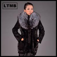 Women mink fur coat with turn down fox fur collar full sleeve slim style long women's fur outerwear