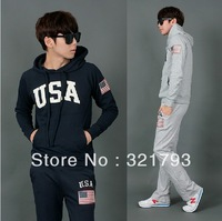 Hot Sales Brand Name Polo Men's Sport Suit USA Flag Thickening Hoodies Sweather Pants Set Male Sweatshirts Set Outerwear