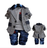new 2014 baby boy spring-autumn striped clothing sets 3pcs kids clothes sets children outwear boy coat jean suit