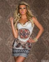 XXL Plus Size 2014 Beach Dress for Summer Print Vintage Party Evening Mini Dress Leopard Dress for Women Sexy Club Dress 9019