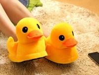 New 2014 Yellow Duck Slippers Women Winter Men Winter Home Flats Christmas Gift Free Shipping