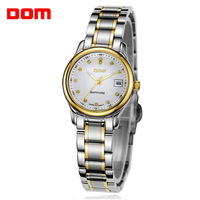 New 2014 women fashion trend Dom brand vintage machinery calendar 200m waterproof business casual  stainless steel watch
